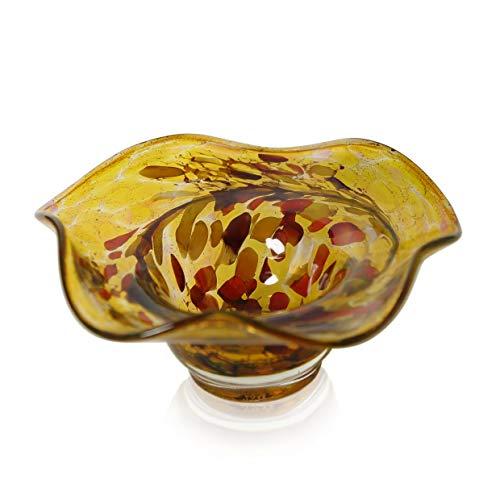Leewadee coupelle en granulés ou doré diamètre 20 cm-hauteur : 8 cm en verre soufflée à lauschaer la bouche handgeformt l'original