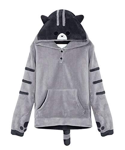 BoerMee Women Cute Cat Ears Hoodie Neko Atsume Pullover Sweatshirt (Grey, XXL)