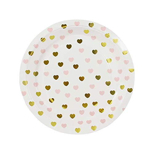 Sweetheart 10 Papp-Teller mit Goldenen Glänzenden und Rosa Herzen