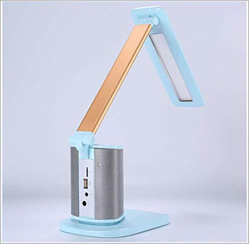 XY Schreibtischlampen LED-Schreibtischlampe, Schreibtischlampe mit drahtlosem Bluetooth-Lautsprecher, Berührungsdimmen, Freisprechen, Geeignet für Zuhause, Büro, Lesen, Lernen,Blau