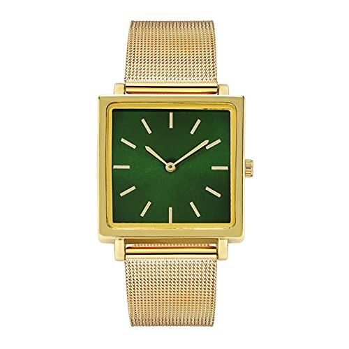 HEling Reloj de cuarzo para mujer, esfera pequeña, esfera de aleación, correa de malla, informal, reloj de cuarzo ajustable, verde, talla única,