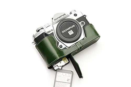 Funda de Cuero Genuino Hecho a Mano con Media cámara para Olympus OM-D E-M5 Mark III de Color Verde