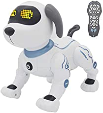 fisca Remote Control Dog, RC Robotic Stunt Puppy Voice Control Toys Handstand Push-up Electronic Pets Dancing Programmable Robot with Sound for Kids Boys and Girls Age 6, 7, 8, 9, 10 Year Old