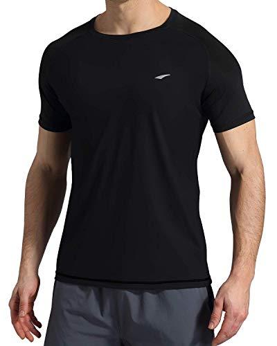 VAYAGER Herren Kurzärmliges Schwimm-Shirt, schnelltrocknend, UV-Schutz, Outdoor-Performance-T-Shirts UPF 50+, Herren, schwarz, XX-Large