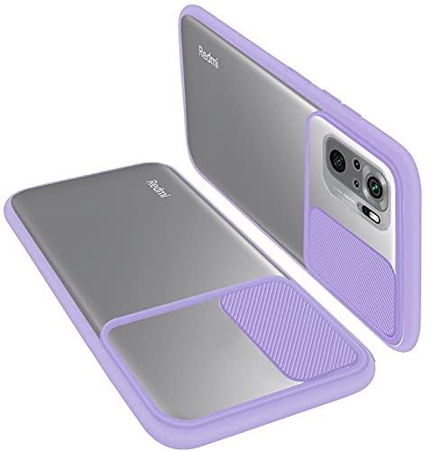 PLANETMOVIL Funda Compatible con Xiaomi Redmi Note 10 / 10S con Tapa Deslizante para Proteger la Cámara tapadera protección de Lente (Morado Suave)