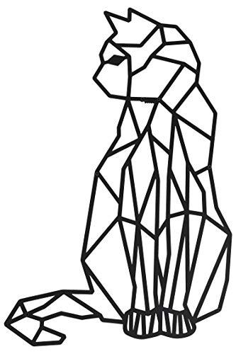 Hansmeier® Wanddeko aus Metall | 40 x 65 cm | Wasserfest | Für Außen, Innen, Balkon & Garten | Metalldeko | Deko Industrial | Motiv Katze
