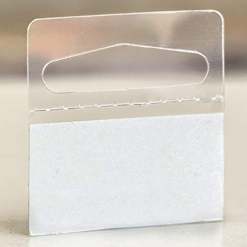 Hanging Display Tabs with Large Adhesive, Slot Hole Peel and Stick Plastic Hang Tabs for Retail, Foldable, 500 Pieces