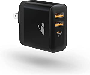USB Wall Charger Block,【MFi Certified】 30W 3-Port Charging Block with 20W PD USB C Power Adapter, QC 3.0 Fast Charger Foldable Plug for iPhone 12 11 Pro Max,Samsung Galaxy,Pixel