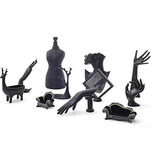 Bandeja De Exhibición De Joyería Creativa Almacenamiento Combinado De Kit De 11 Piezas Pulsera Anillo Pendiente Escaparate De La Tienda, Negro