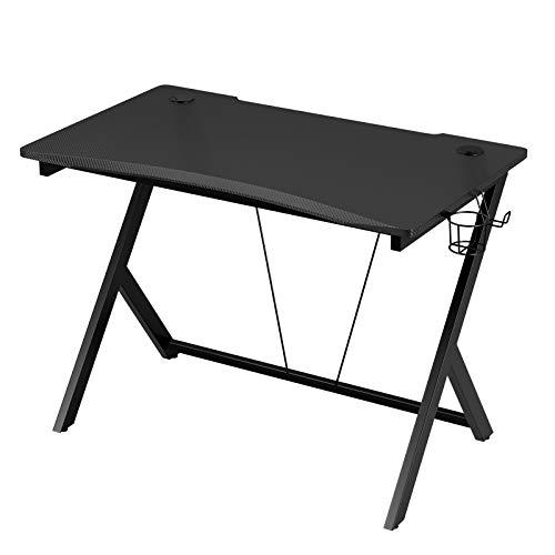 HOMECHO Gaming Tisch Gaming Schreibtisch for PC Ergonomische Computertisch mit Getränkehalter und Kopfhöreranschluss 108 x 65 x 75 cm