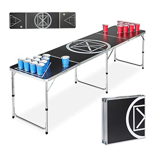 Relaxdays Beer Pong tafel, inklapbaar, drinkspel, audio table design, voor volwassenen, HBT 70 x 241,5 x 60 cm, zwart/wit