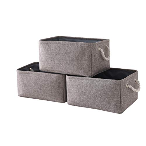 TheWarmHome Foldable Storage Basket with Strong Cotton Rope Handle, Collapsible Storage Bins Set Works As Baby Storage, Toy Storage, Nursery Baskets (Grey, 3Pack-13.8L9.8W6.7H)