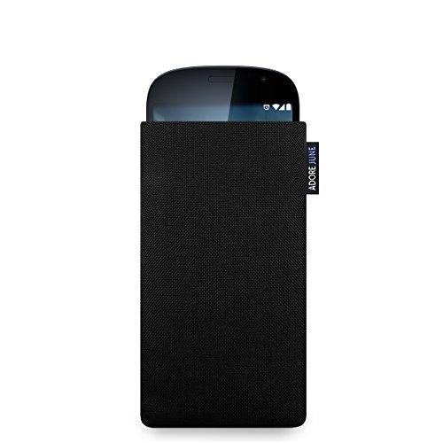 Adore June Classic Schwarz Tasche für YotaPhone 2 Handytasche aus beständigem Cordura Stoff | Robustes Zubehör mit Bildschirm Reinigungs-Effekt | Made in Europe