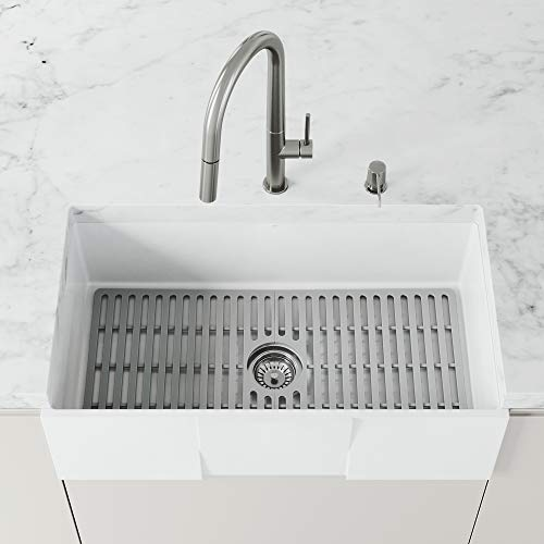 Find Cheap VIGO 32.375 in x 14.625 in Gray Silicone Kitchen Sink Protective Bottom Grid For Single B...