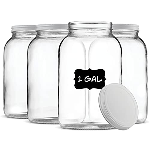 Paksh Novelty 1-Gallon Glass Jar Wide Mouth with Airtight Metal Lid 4-Pack USDA Approved BPA-Free Dishwasher Safe Clear Mason Jar for Fermenting Kombucha Kefir Storing and Canning - Chalkboard Labels