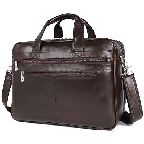Polare Real Soft Nappa Leather 17' Laptop Case Professional Briefcase Business Bag for Men (Coffee)