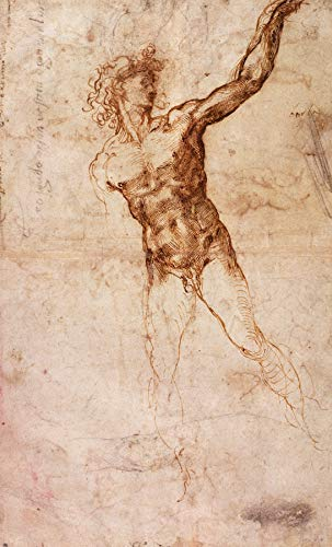 "Michelangelo Buonarroti Sketch of a Nude Man Buhrle Collection 30"" x 18"" Fine Art Giclee Reproduction Canvas Print (Unframed)"