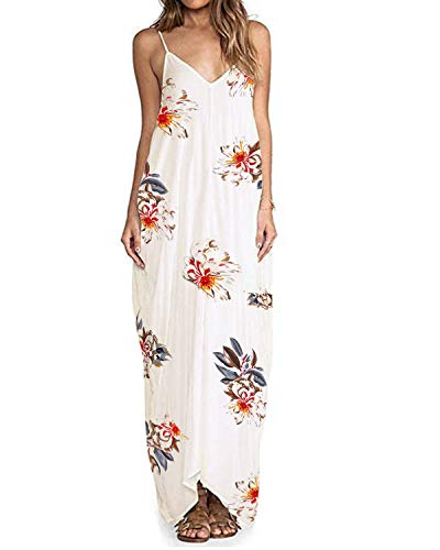 ZANZEA Sommerkleid Damen Ärmellose Maxikleid Blumen Langes Kleid V Ausschnitt Strandkleid Trägerkleid Casual, EU 44 / Etikett XXL, B16098-weiß