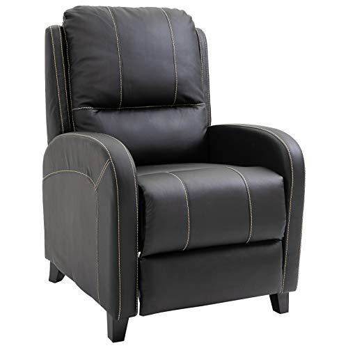 HOMCOM Massagesessel Fernsehsessel Relaxsessel Heizfunktion Fußstütze 90-165° PU Schwarz 70 x 93 x 100 cm