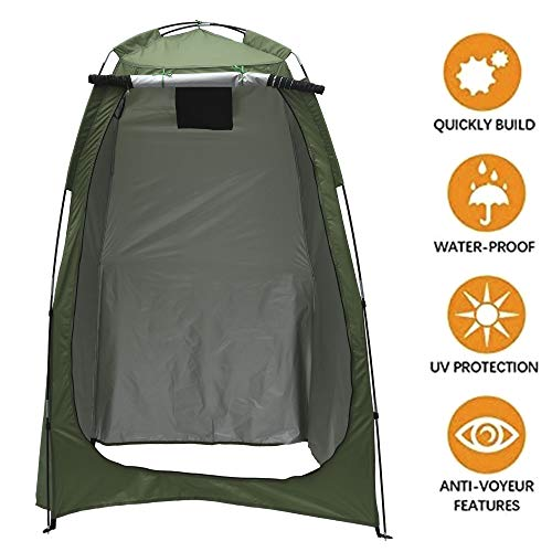 Pop Up Privacy Shower Tent, Removable Dressing Changing Room Privacy Tent Waterproof Camping Toilet Tent, Rain Shelter for Camping and Beach (Green(1.2 * 1.2 * 1.8M))