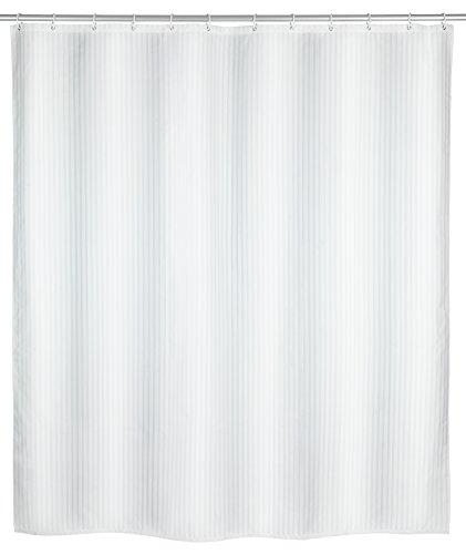WENKO Anti-Schimmel Duschvorhang Palais, Duschvorhang mit Antischimmel Effekt fürs Badezimmer, inkl. Ringen zur Befestigung an der Duschstange, waschbar, 100prozent Polyester, 180 x 200 cm, weiß
