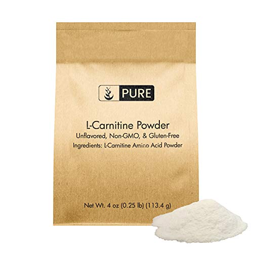 100% L-Carnitine Powder, 4 oz, 500 mg Serving, Gluten-Free, Non-GMO & Premium Quality Dietary Supplement, Unflavored, No Filler or Additives, Eco-Friendly Packaging