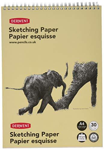 Cuaderno Derwent A4 Formato Retrato para Dibujar y Escribir, 30 Hojas, Papel Libre de Ácidos, Bloc de Notas Espiral, Calidad Profesional, 2300139