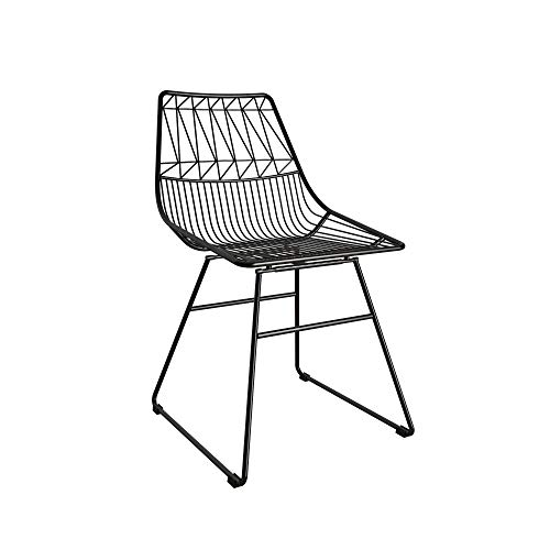 CosmoLiving by Cosmopolitan Astrid Wire Metal Dining, Black Chairs
