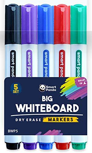 5 grandi penne per lavagna bianca SmartPanda - Pennarelli per lavagna bianca, medio e fine - Pennarelli cancellabili a secco, perfetti per la casa, la scuola o l ufficio - 5 set di colori assortiti