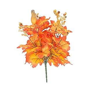 LVOERTUIG Artificial Shrubs Festival Autumn Living om Fake Plant Dining Table Lifelike Indoor Outdoor Home Decoration Maple Leaf DIY Silk Flower Simulation(A)