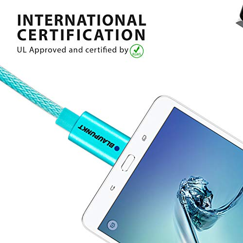 Blaupunkt Highly Durable Micro to USB 2.0 Nylon Braided Cable with High Speed Charging, Quick Data Sync and Metal Tip Connectors for All USB Powered Devices (Blue)