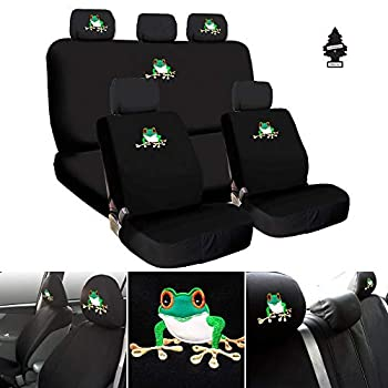 Frog Embroidery Logo Car SUV Truck Seat Covers Headrest Gift Set