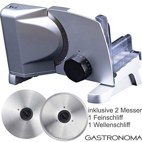 Gastronoma 18310007 Metall Allesschneider 2 Messern Metallallesschneider inklusive Feinschliff- und Wellenschliffmesser, 160 Watt, Metallic grau