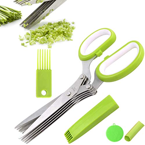 BITEFU Tijeras para hierbas de 5 capas, cuchillas de acero inoxidable, tijeras de cortar para cebollas, verduras y mariscos