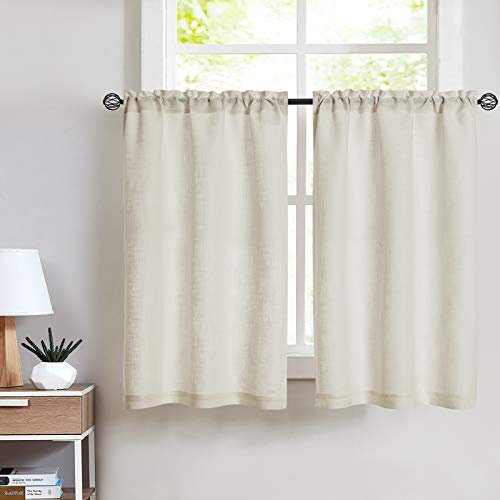 Vangao Kitchen Tier Curtains 24 inch Linen Textured Cafe Curtains Short Beige Curtains for Bathroom Rod Pocket, 2 Panels, Crude