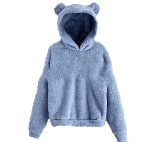 guiyuan otoño e Invierno mullidas Orejas de Conejo con Capucha suéter cálido suéter Azul XXL