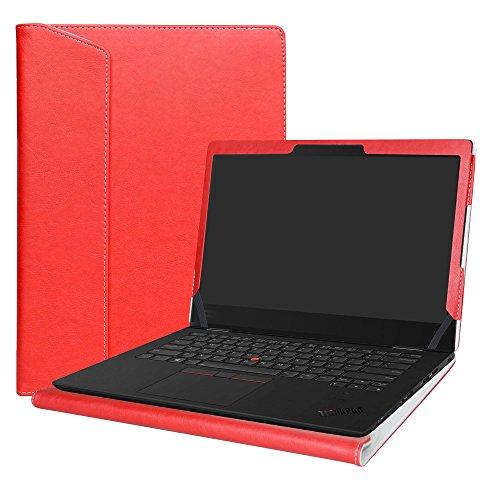 Alapmk Diseñado Especialmente La Funda Protectora de Cuero de PU para 14' Lenovo Thinkpad X1 Yoga 1st Gen & 2nd Gen & 3rd Gen Series Ordenador portátil,Rojo
