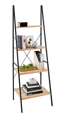 ClosetMaid 1312 4-Tier Wood Ladder Shelf Bookcase, Natural