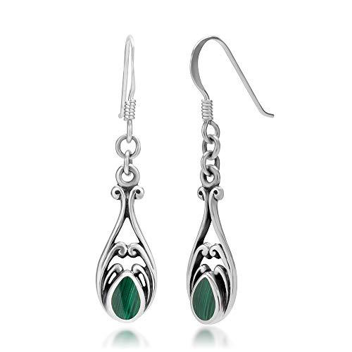 925 Sterling Silver Dangle Hook Earrings – Chuvora Jewelry – Green Gemstone Filigree
