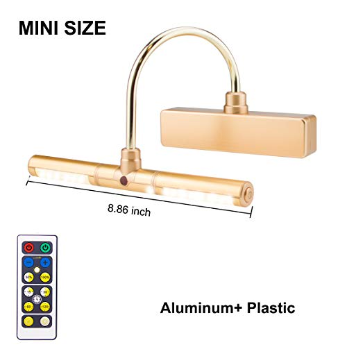 BIGLIGHT Wireless Battery Operated LED Picture Light with Remote, Rotatable Light Heads of 3 Lighting Modes, Dimmable Display Lamp with Timer for Painting Photo Portrait Art, Gold
