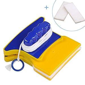 Outbit Limpiador de Cocina - Limpiador de Vidrio magnético de Doble Lado y Forma Cuadrada con 2 Algodón de Limpieza Adicional para Cocina Baño Limpiacristales