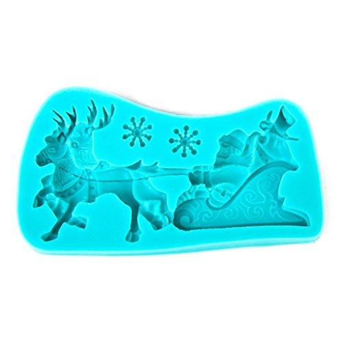 Moule à gâteau en silicone motif Père Noël sur son traîneau, couleur aléatoire