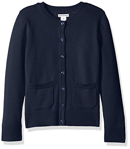 Amazon Essentials Girls Uniform Sweater cardigan-sweaters, Marineblau Blazer, Medium