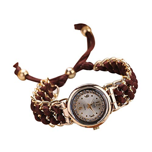 Sannysis Damenuhr Gold Weben Runden Armbanduhr Uhr Analog Quarz Armband Quarzuhr Mehrfarben Kleideruhr für Frauen (Kaffee)
