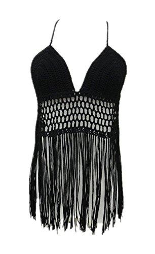 Fringe Bikini Halter Crop Top Handmade Crochet Swimsuit Summer Beachwear (Black) One size