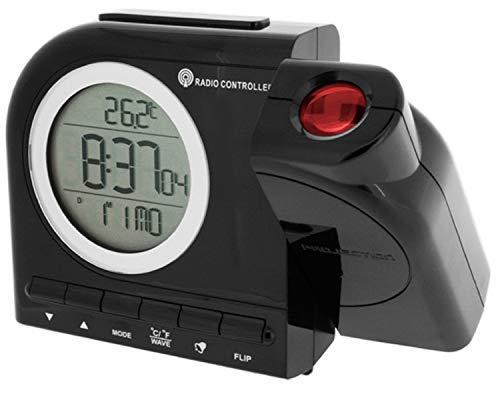Krippl-Watches Funkprojektionswecker mit Temperaturanzeige, LAUTLOS Farbe:schwarz