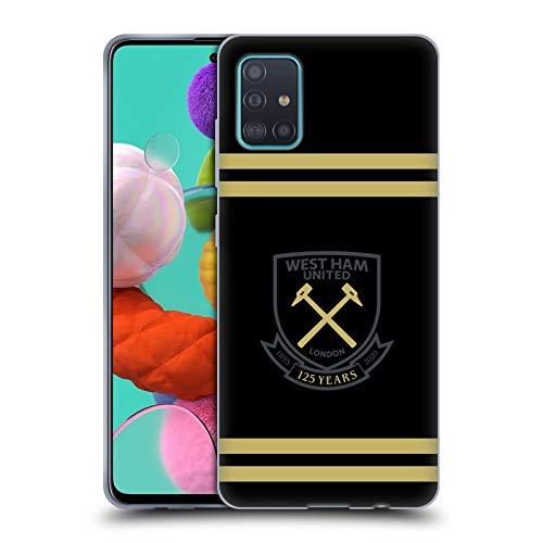 Head Case Designs Licenza Ufficiale West Ham United FC Claret Nero Oro a Strisce 125esimo Anno Anniversario Cover in Morbido Gel Compatibile con Samsung Galaxy A51 (2019)