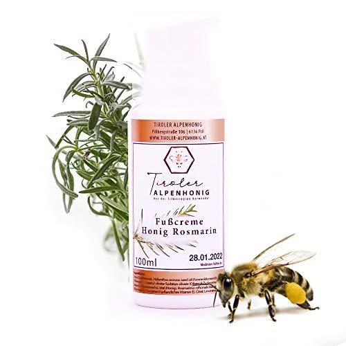 Fußcreme Honig Rosmarin in BIO Qualität - 100% natürliche Fußpflege (100 ml) - Für trockene und müde Füße mit natürlichem Bienenwachs - Hergestellt in den Tiroler Bergen