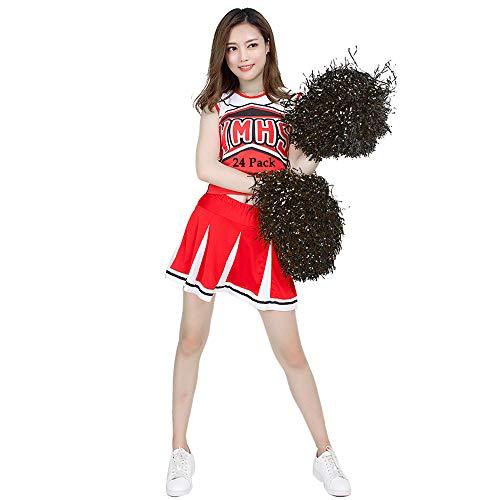 RETON 24 Pezzi PON PON da Cheerleader, Pompon Metallici da Cheerleading, per Bambini Cheer Sport, Giochi, Feste, Celebrazioni, Spettacoli (Nero)