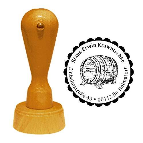 Stempel adresstempel « WHISKYFASS » diameter ca. Ø 40 mm - met persoonlijk adres, motief en sierrand - whisky whiskey vat distilleerderij